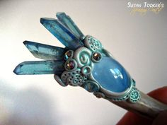 SEA JEWEL - Magic Crystal Wand Deer Antler Pagan Talisman with Aqua Aura Quartz by Susan Tooker of Spinning Castle