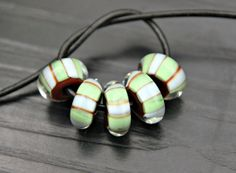 Round Striped Glass Bead Set in Brown Baby Blue by blancheandguy, $35.00