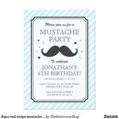 Aqua teal stripe mustache bash kids birthday party card