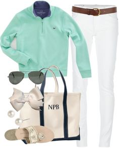 Mint and white nautical (As in. We are spending the afternoon on the yatch and it may get a bit cool)Mint and white nautical (As in. We are spending the afternoon on the yatch and it may get a bit cool) Spring Summer Fashion, Autumn Winter Fashion, Spring Outfits, Prep Style, Style Me, Preppy Outfits, Cute Outfits, Preppy Clothes, Beach Outfits