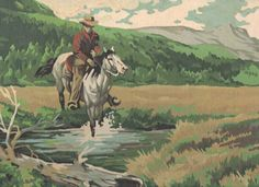 The Outriders by Craft House 38GG Vintage Cowboy Western Paint by Number PBN Unframed Painting, $55.00