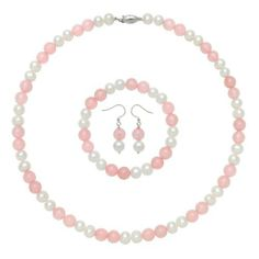 White Freshwater Pearl and Rose Quartz Alternating by Two-Necklace, Bracelet and Earring Set, Free Shipping and Gift Box Joy De Mer. $41.00. Free shipping, gift box, bag, cleaning kit, pearl care and information guide