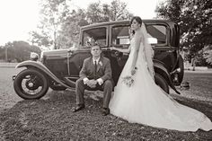 Real bride Ashley with husband Andy in Lazaro style 3962