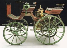 """Worlds 1st Motorized Woodie!"" 1886 Daimler-Maybach The Daimler-Maybach partnership produced the world's first motor vehicle in 1885. Their first four-wheeler was this converted wooden carriage, fitted in 1886 with Daimler's engine."