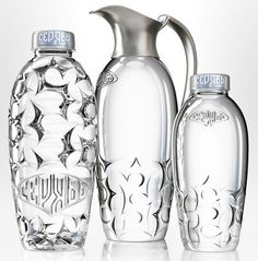 Beautiful packaging for Seryab water. There are two versions - a special glass bottle and serving carafe system for restaurants and bars, an...