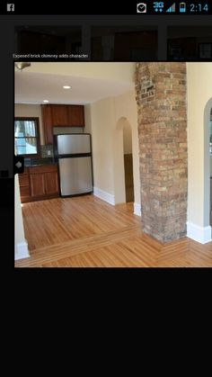 Exposed brick chimney!