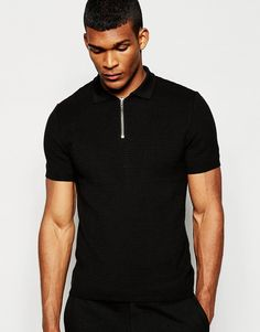 River Island Knitted Polo with Zip Detail