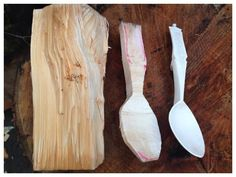 Simon Hill - the process of carving a wooden spoon.