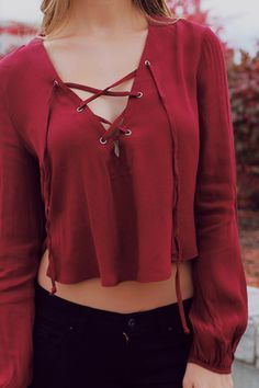 Burgundy Criss Cross Tie Front Bell Sleeve Crop Top