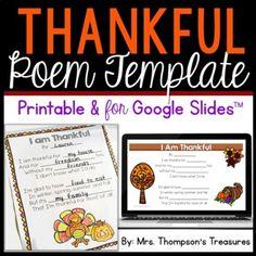 Free Thanksgiving Thankful Poem Template Printable & for Google Slides™