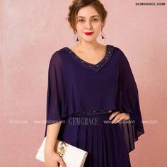 10% off now Custom Elegant Purple Formal Long Chiffon Evening Dress Beaded Neck with Cape Sleeves High Quality at GemGrace. Click to learn our pro custom-made service for wedding dress, formal dress. View Evening Dresses for more ideas. Stable shipping world-wide.