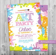 Art Paint Party Invitations: Printable Birthday by thepartystork