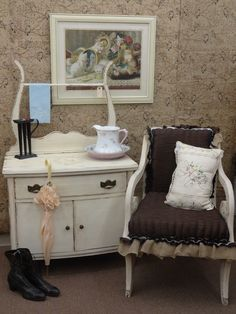 $179 - Shabby Wash Stand - Painted creamy white, stenciled on top, distressed, glazed and finished in Dark wax. Antique Shabby Chic Chair shown in picture is also for sale $119 - ***** In Booth E6 at Main Street Antique Mall 7260 E Main St (east of Power RD on MAIN STREET) Mesa Az 85207 **** Open 7 days a week 10:00AM-5:30PM **** Call for more information 480 924 1122 **** We Accept cash, debit, VISA, Mastercard, Discover or American Express