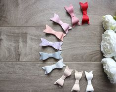 Faux Leather Bow Headband or Clip, Newborn Headband Baby Girl Headbands, Newborn Headbands, Baby Bows, Leather Bow, Photography Props, Etsy, Newborn Girl Headbands
