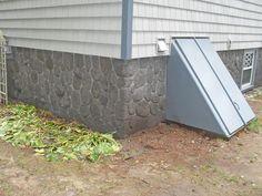Stone veneer foundation, stamped concrete