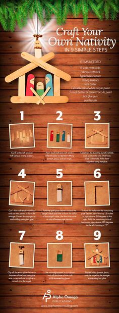 manualidad infantil pesebre móvil con palitos de madera