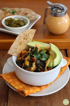 Sweet potato & black bean hash with chipotle crema. Scoop this hash ...