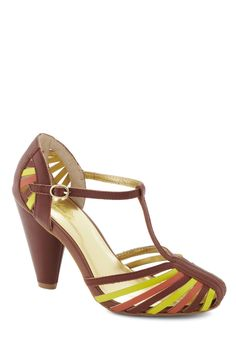 Tempest Heel in Brown. Everyone in the room is going to cause a commotion when you enter wearing these T-strap Seychelles heels! #tan #modcloth