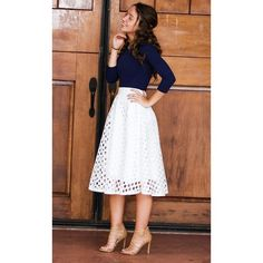 Womens Hole Punched Crochet Skirt (£34) ❤ liked on Polyvore featuring skirts, crochet skirt, mid length skirts and macrame skirt