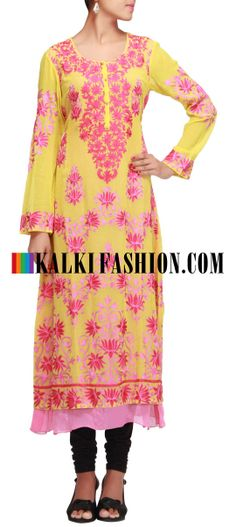 Buy Online from the link below. We ship worldwide (Free Shipping over US$100)  http://www.kalkifashion.com/yellow-kurti-embroidered-in-thread.html Yellow kurti embroidered in thread