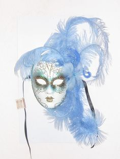 Light Blue Feather Venetian Masquerade Mardi Gras Carnival  Mask