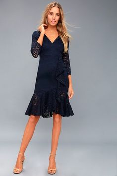 Cute lace dresses work for all seasons, and Lulus has your fashion needs covered year-round! Find a sexy lace dress that will turn heads. Blue Lace Midi Dress, Cute Lace Dresses, Sexy Lace Dress, Black Long Sleeve Dress, Sexy Dresses, Formal Dresses, Cocktail Attire, Midi Cocktail Dress, Mother Of Groom Outfits