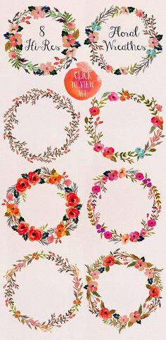 Como ya estamos en primavera , apetecen los motivos florales ¿ verdad?  Espero que os gusten estas guirnaldas de flores   Las podéis usar pa...