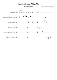You're Gonna Miss Me - Lulu and the Lampshades - Percussion Part | MuseScore