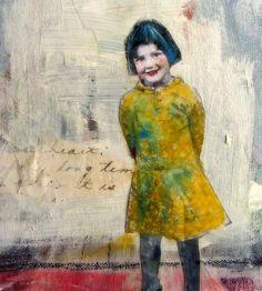 Blue Hair sweet vintage girl painting on canvas by MaudstarrArt, $35.00