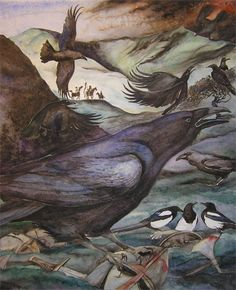 Painting of raven, watercolour, for The Warsong of Dinas Fawr, Barefoot Book of Classic Poems, illustrated by Jackie Morris