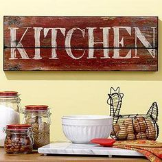 42 Ideas for diy wood signs for kitchen decor Wooden Kitchen Signs, Diy Wood Signs, Pallet Signs, Rustic Signs, Rustic Kitchen, Country Kitchen, Vintage Kitchen Signs, Kitchen Ideas, Home Wooden Signs