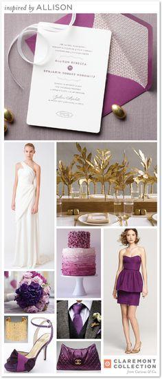Allison inspiration board | Claremont Collection #purple #gold #wedding #letterpress