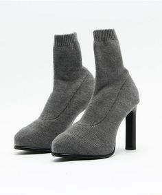 SLY(スライ)のKNIT FITTED BOOTIE(ブーツ)|トップグレー