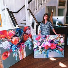 Christmas in September! Erin Gregory stopped by this morning with 14 beautiful new paintings, including both landscapes and florals! Erin Gregory, Arte Floral, Abstract Flowers, Acrylic Flowers, Acrylic Art, Painting Inspiration, Diy Art, Flower Art, Art Projects