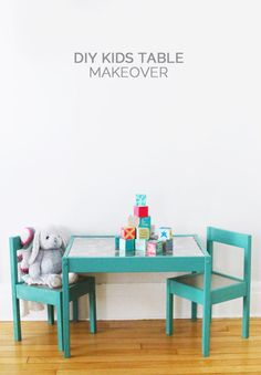 DIY Kids Table Makeover at The Sweetest Occasion Blog. Ikea Hack #giftstomake #kidstable #ikeahack