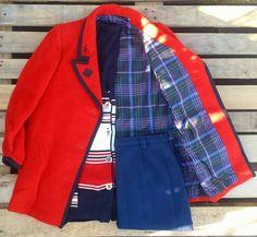 #Giacca rossa foderata 38 euro, #cardigan a righe 35 euro, #gonna a vita alta blu 30 euro! #woodstockzambon   #vintage   #shopvicenza   #shoponline