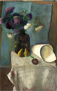 """Still Life with Asters and Pears (Stilleben mit Astern und Birnen)"" Felix Nussbaum (German-Jewish, 1904-1944)"