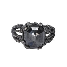 Black Diamond Vine Ring, Catherine Angiel: This intricately worked platinum ring holds a glittering ct black diamond. Gems Jewelry, Jewelery, Fine Jewelry, Black Diamond Jewelry, 40 And Fabulous, Traditional Engagement Rings, Platinum Ring, Rocks And Gems, Diamond Are A Girls Best Friend
