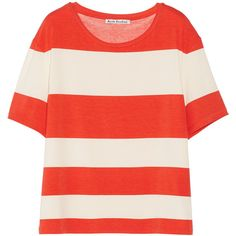 Acne Studios Wonder Stripe stretch cotton and modal-blend T-shirt ($77) ❤ liked on Polyvore featuring tops, t-shirts, shirts, tees, bright orange, red striped t shirt, striped shirt, stripe t shirt, loose t shirt and orange t shirt