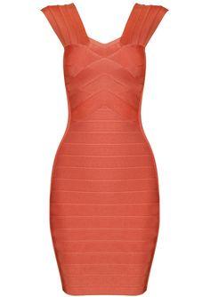Orange Strap Body Conscious Bandage Dress $46.5