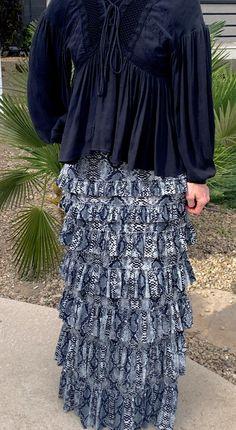 Gray Snake Ruffle Eleganza Skirt #snakeprint #modestfashion #shannasthreads #modestweddingdresses