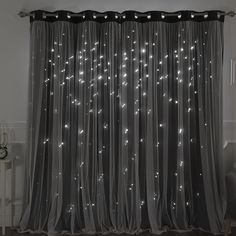 Zoom curtains Harriet Bee Efird Tulle Overlay Star Cut Out Blackout Thermal Grommet Curtain Panel Cute Curtains, Closet Curtains, Grommet Curtains, Drapes Curtains, Girl Curtains, Living Room Decor Curtains, Black Curtains Bedroom, Bedroom Curtains Blackout, Star Cut Out