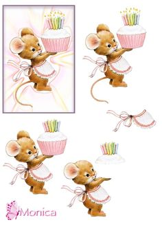 Mouse with Birthday Cupcake