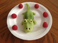 Mr. Croc Kiwi and Raspberries Fun food for kids Healthy dessert // Cocodrilo de…