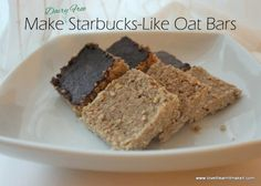 Gluten and Dairy Free Starbucks-Like Oat Bars 4 cups oats 1 tsp cinnamon ¼ tsp salt ½ cup coconut oil (about or or go ahead and use butter, you non DFers ¼ cup brown sugar ¼ cup honey ¼ cup water 1 tsp vanilla Melted dark chocolate on top :) Dairy Free Starbucks, Healthy Starbucks, Starbucks Recipes, Yummy Treats, Delicious Desserts, Sweet Treats, New Dessert Recipe, Dessert Recipes, Dessert Book