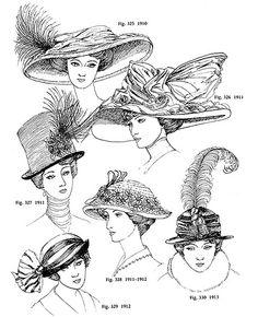 Sombreros estilo eduardiano - - Frisuren, Hüte, Accessoires etc. Victorian Hats, Edwardian Era, Edwardian Fashion, Vintage Fashion, Historical Costume, Historical Clothing, Belle Epoque, Clip Art Vintage, Style Édouardien