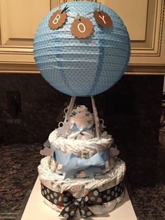 Hot Air Balloon Diaper Cake by AngelasWorkOfheART on Etsy