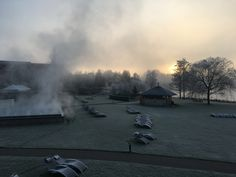 Sunrise during wintertime... Hot Pools and sauna's