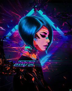 Jade Art Print by simonweaner Cyberpunk Aesthetic, Arte Cyberpunk, New Retro Wave, Retro Waves, Character Inspiration, Character Art, Character Design, Trailer Park, Neon Noir