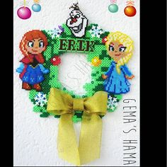 Custom Frozen Christmas wreath hama beads by gemashama